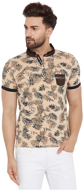 Men Polo Collar Floral T-Shirt
