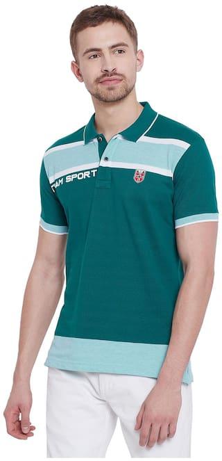 Duke Men Regular fit Polo neck Striped T-Shirt - Green