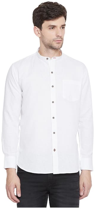 Duke Men White Solid Slim Fit Casual Shirt