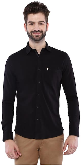 Duke Men Black Solid Regular Fit Casual Shirt