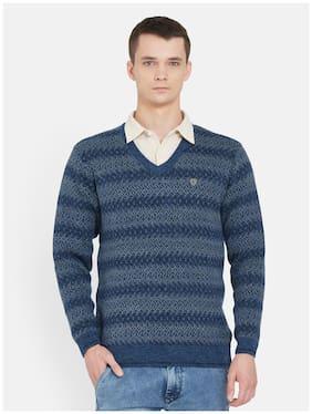 Duke Men Blue V neck Pullover