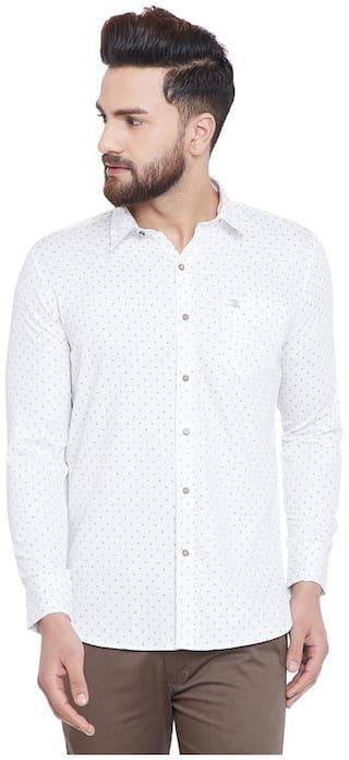 Duke Men White Printed Regular Fit Casual Shirt