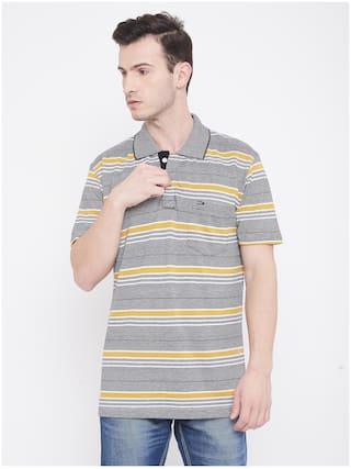 Duke Men Grey Regular fit Cotton Polo Collar T-Shirt