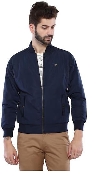 Men Polyester Long Sleeves Biker Jacket