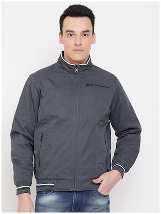 Duke Men Grey Solid Bomber jacket