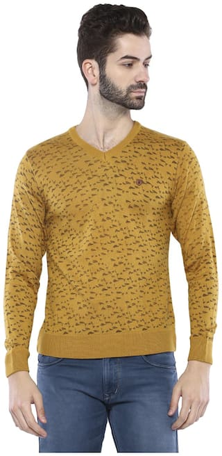Duke Men Yellow V neck Pullover