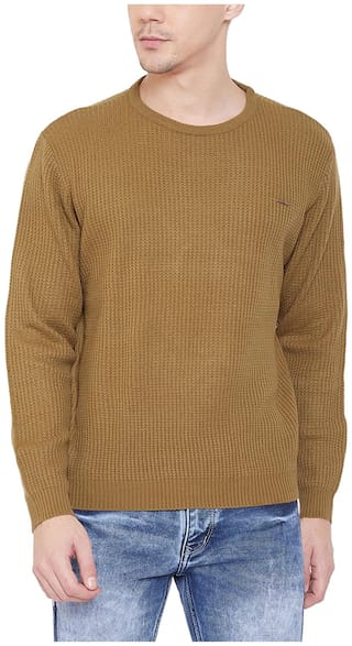 Duke Men Brown Round neck Pullover