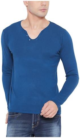 Men V Neck Solid T-Shirt