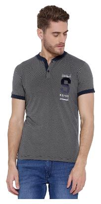 Duke Men Regular Fit Henley Neck Striped T-Shirt - Grey