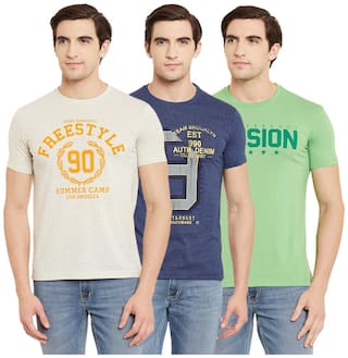 Duke Men Multi Regular fit Cotton Round neck T-Shirt - Pack Of 3