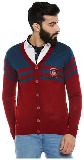 Duke Stardust Burgandy Polyester Cotton Sweater