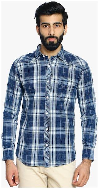 Duke Men Blue Checked Slim Fit Casual Shirt