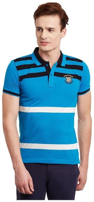 Duke Men Regular fit Polo neck Striped T-Shirt - Blue