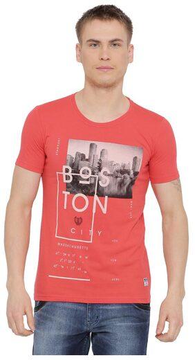 Duke Men Regular Fit Round Neck Printed T-Shirt - Red