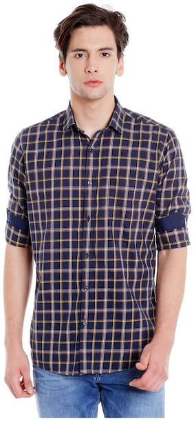Easies Men Blue Checked Slim Fit Casual Shirt