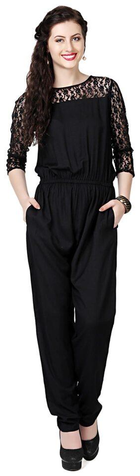 EAVAN Black Rayon Jumpsuit
