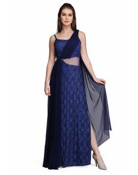 Eavan Navy Blue Saree Gown