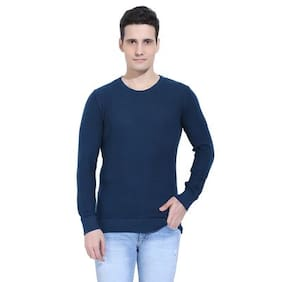 Ebry Reston Flat Knit Round Neck Light Navy Blue Pullover