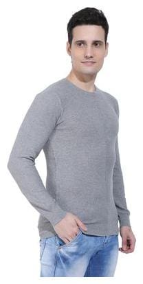 Ebry Reston Flat Knit Round Neck Grey Pullover