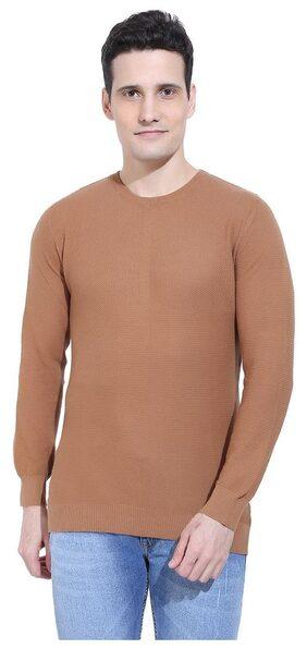 Ebry Reston Flat Knit Round Neck Coffee Brown Pullover