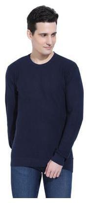 Ebry Reston Flat Knit Round Neck Navy Blue Pullover