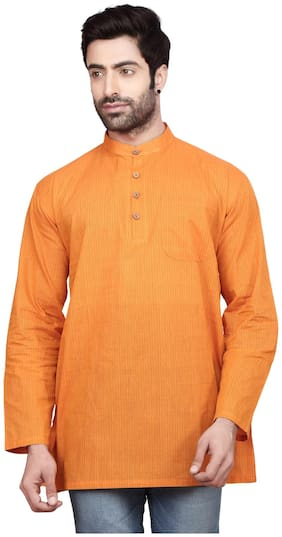 Ecostyle Crafts Men Orange Regular Fit Kurta