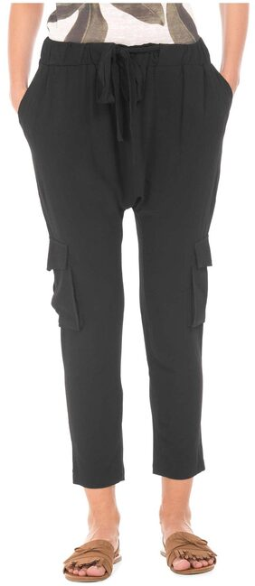 ED HARDY Black Polyester Textured Drop Crotch Cargo Pants