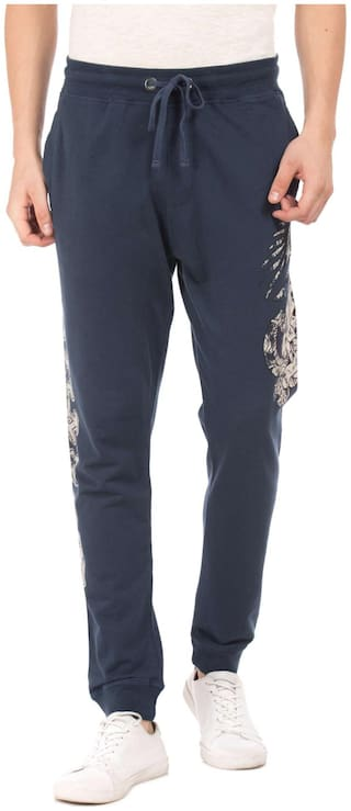 Ed Hardy Blue Cotton Printed Slim Fit Track Pants