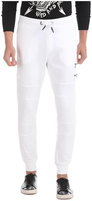 Ed Hardy Cotton Lifestyle Slim Fit White Track Pants Men