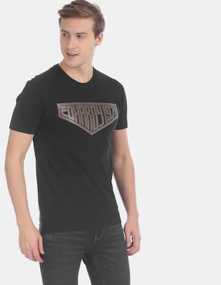 ED Hardy Men Black Regular fit Cotton Round neck T-Shirt - Pack Of 1