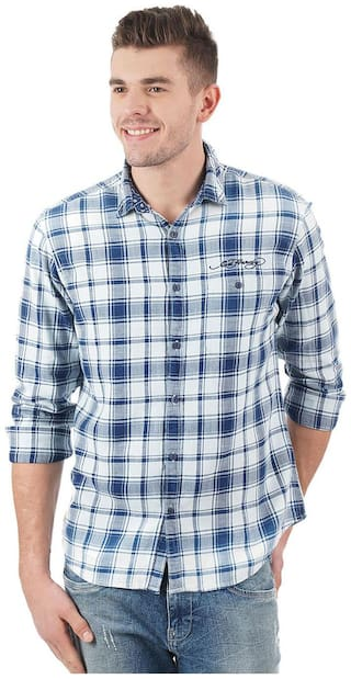 ED Hardy Men Blue Checked Slim Fit Casual Shirt