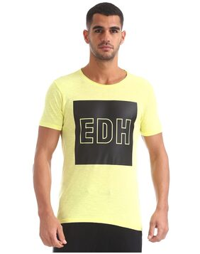 ED Hardy Men Slim Fit Round Neck Printed T-Shirt - Yellow