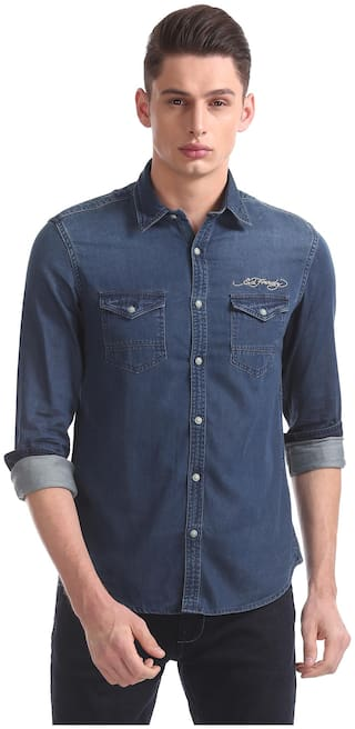 ED Hardy Men Blue Solid Slim Fit Casual Shirt