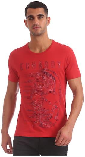 Men Round Neck Self Design T-Shirt