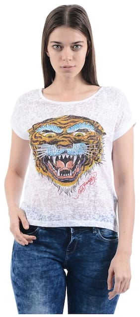 ED Hardy Printed White T Shirt