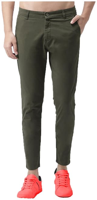 EditLook Men Green Solid Slim fit Chinos