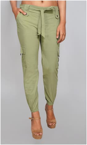 EditLook Lycra Green Solid Joggers  For Women