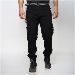 EditLook Men Black Solid Slim fit Cargos