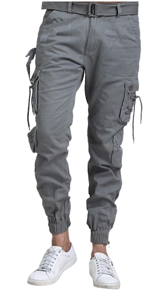 EditLook Men Grey Solid Slim fit Cargos