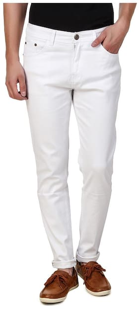 EditLook Men White Regular Fit Jeans
