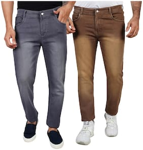 EditLook Men Grey & Brown Slim Fit Jeans