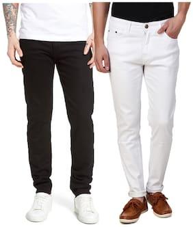 EditLook Men Black & White Slim Fit Jeans
