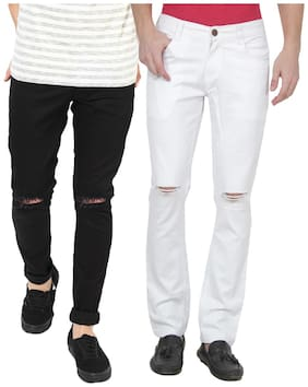 EditLook Men Black & White Slim Fit Jeans