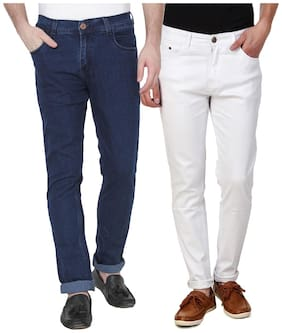 EditLook Men Blue & White Slim Fit Jeans