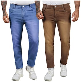 EditLook Men Blue & Brown Slim Fit Jeans