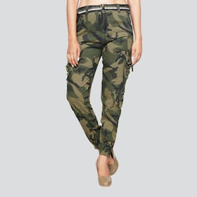 EditLook Women Green Slim fit Cargos