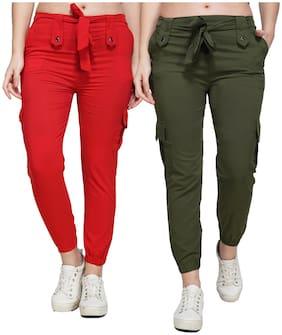 EditLook Women Red & Green Slim fit Jogger
