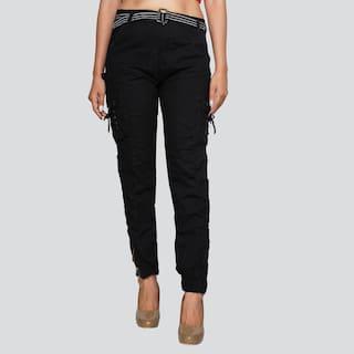 EditLook Women Black Slim fit Cargos