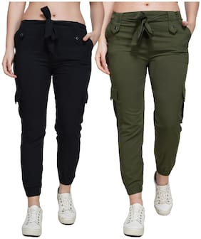 EditLook Women Black & Green Slim fit Jogger