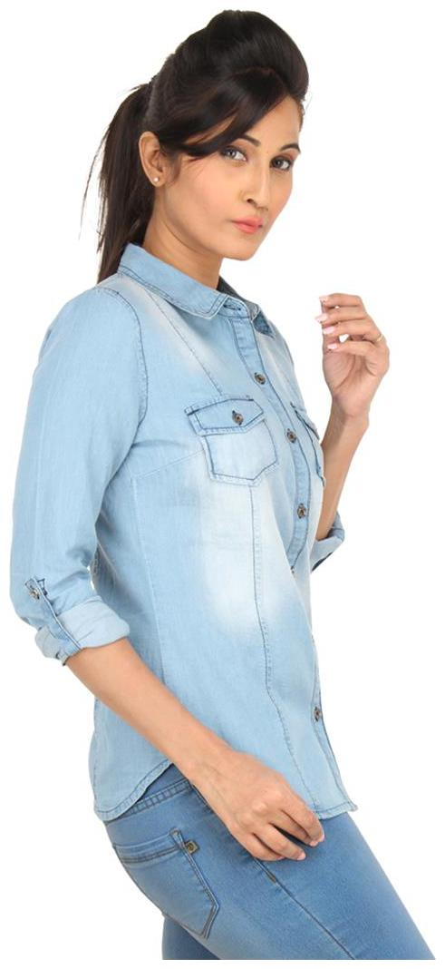 EIMOIE Women's Solid Casual Denim Shirt  Blue